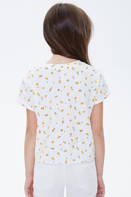 Girls Floral Print Knotted Tee (Kids), image 2