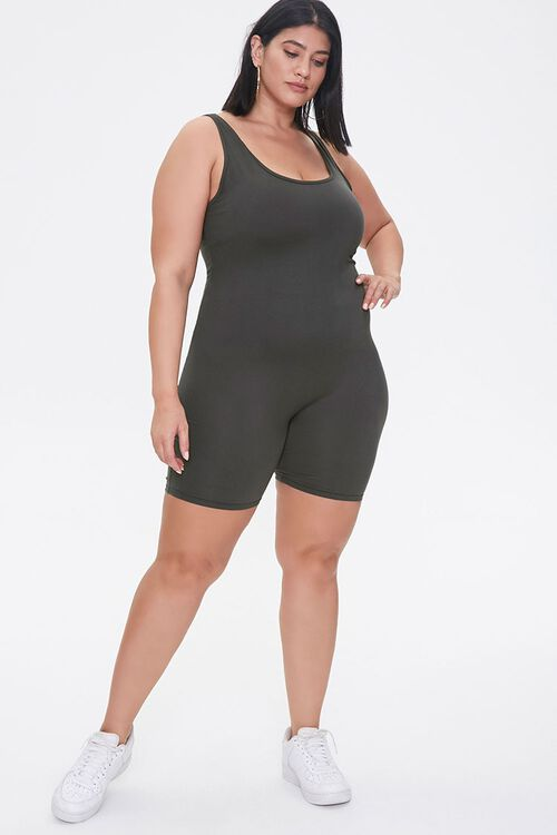 Plus Size Fitted Tank Romper, image 1
