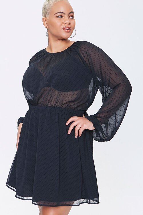 Plus Size Sheer Dotted Mini Dress, image 1