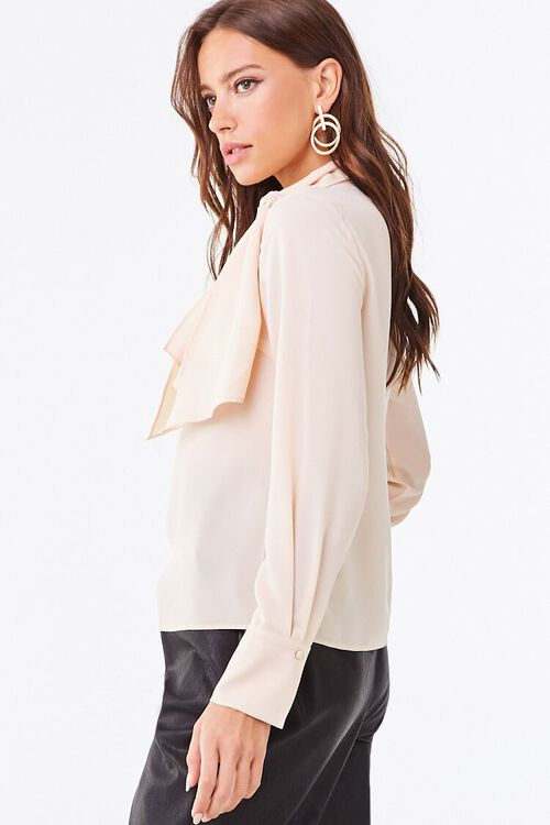 Tie-Neck Curved Hem Top, image 2