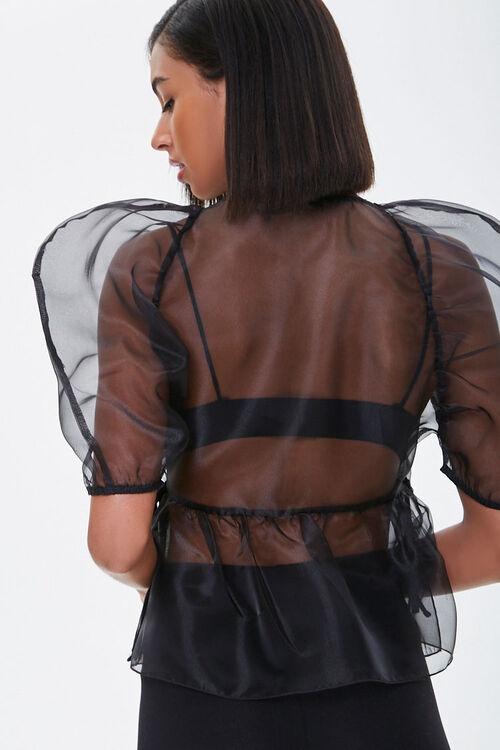 Organza Balloon Sleeve Wrap Top, image 3
