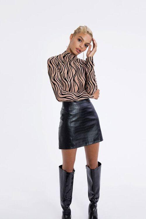 Faux Croc Mini Skirt, image 1