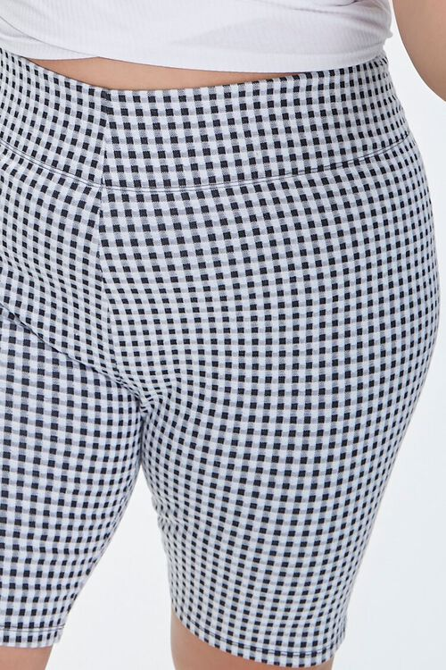 BLACK/MULTI Plus Size Gingham Biker Shorts, image 5