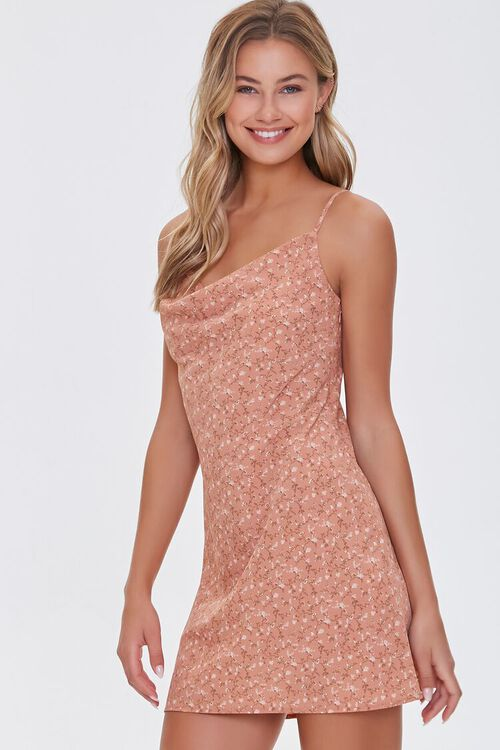 BROWN/MULTI Ditsy Floral Print Dress, image 1