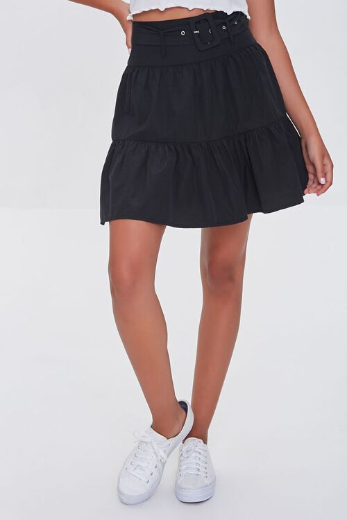 Tiered Buckled Mini Skirt, image 2