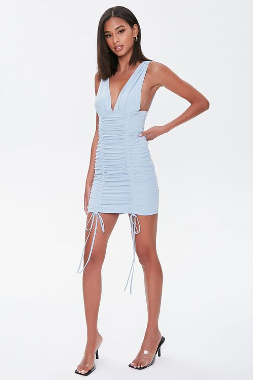 Plunging Ruched Mini Dress, image 4