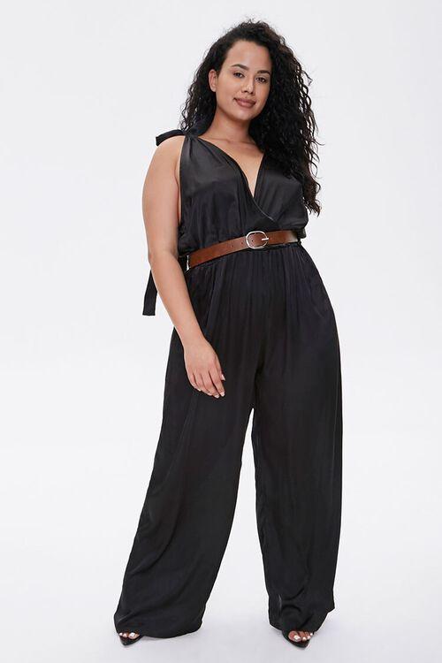 Plus Size Belted Satin Surplice Jumpsuit, image 1