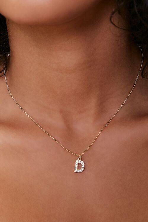 Rhinestone Letter Pendant Necklace, image 1