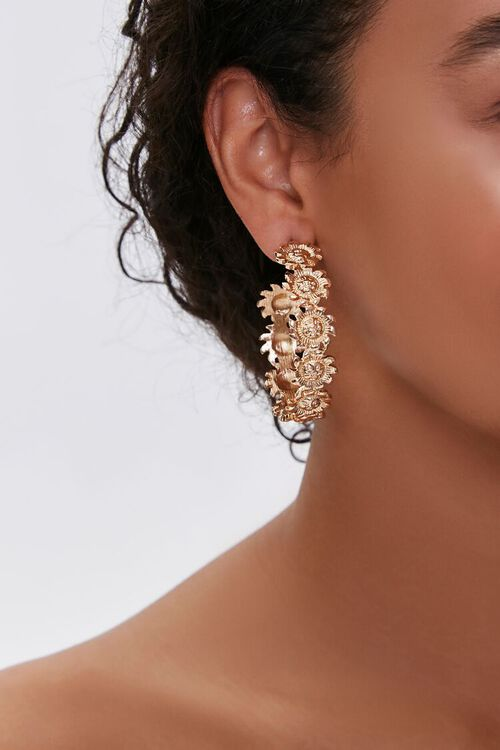 Sun Pendant Hoop Earrings, image 2