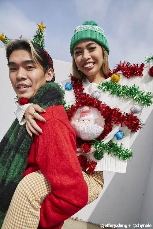 IVORY/MULTI Santa Snowglobe Garland Ball Sweater, image 1