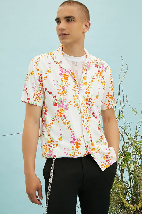 Floral Print Fitted Shirt, image 1