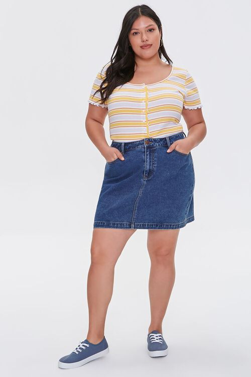 Plus Size Buttoned Striped Top, image 4