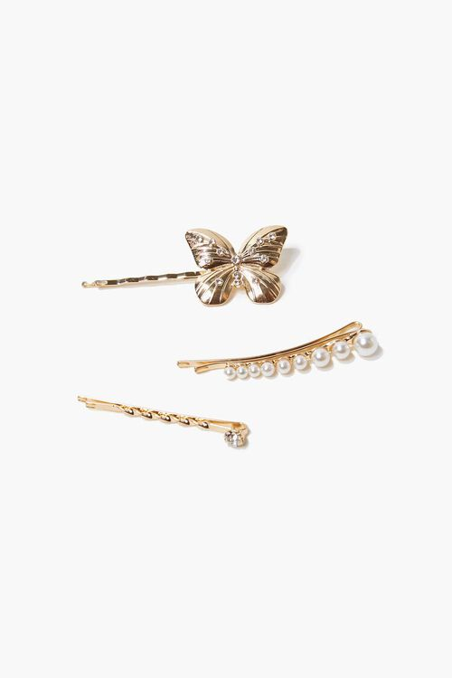 GOLD Butterfly Pendant Bobby Pin Set, image 1