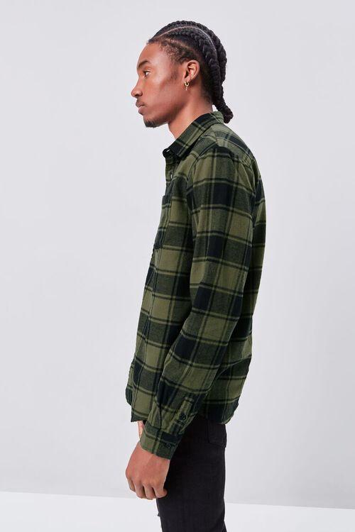 OLIVE/BLACK Classic Fit Flannel Plaid Shirt, image 2