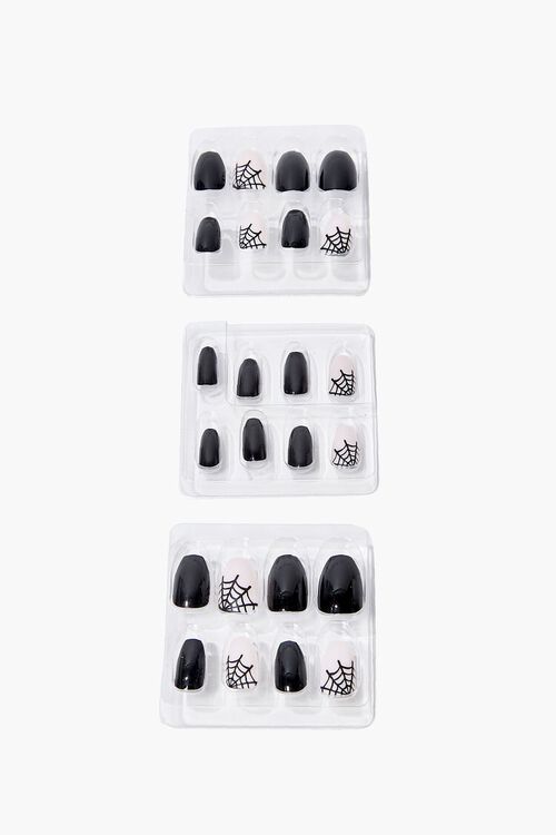BLACK/MULTI Spiderweb Graphic Press-On Nails, image 1
