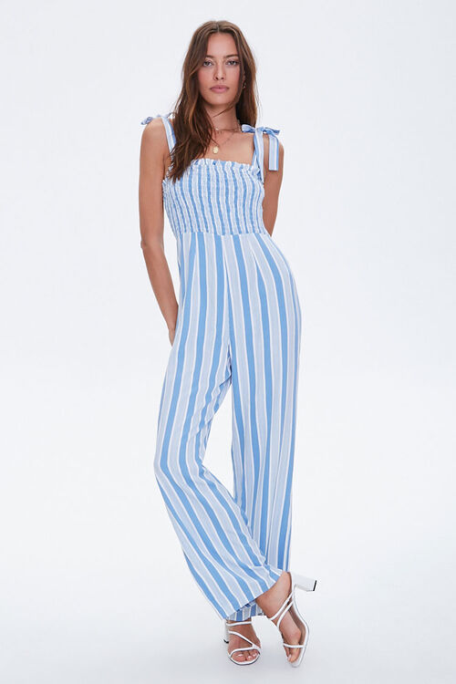 Striped Wide-Leg Smocked Jumpsuit, image 4