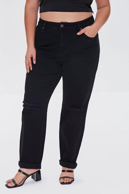 BLACK Plus Size Premium Boyfriend Jeans, image 2