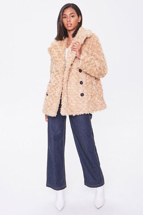 Boucle Faux Fur Buttoned Coat, image 4