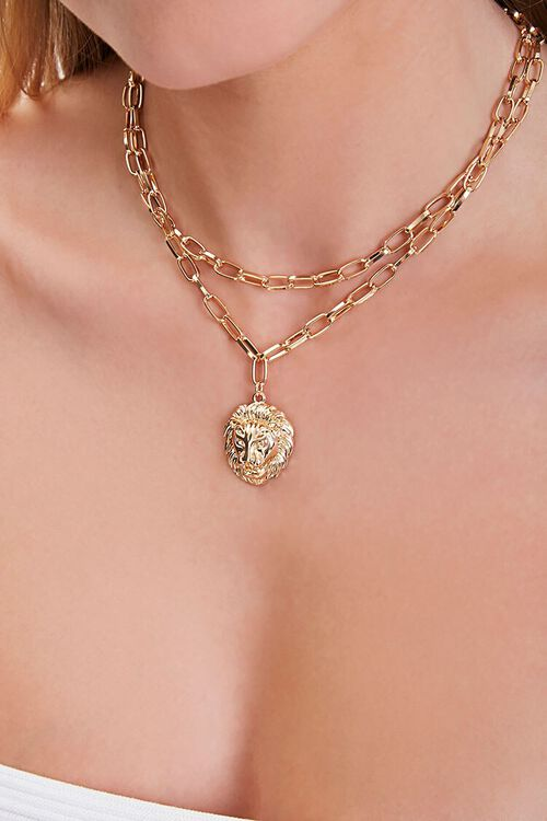 GOLD Lion Head Pendant Layered Necklace, image 1
