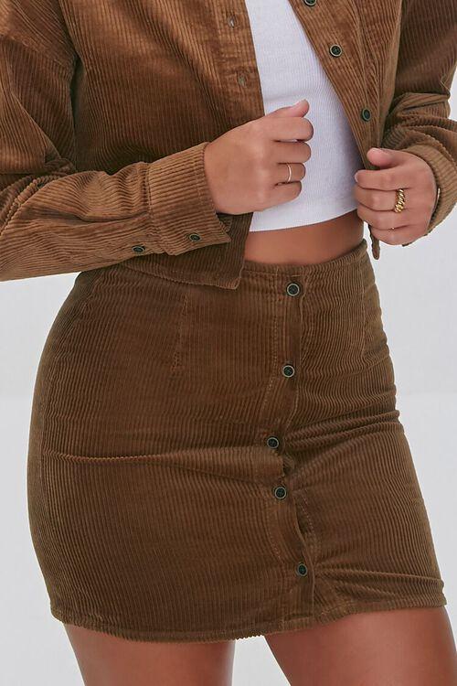BROWN Corduroy Shirt & Mini Skirt Set, image 6