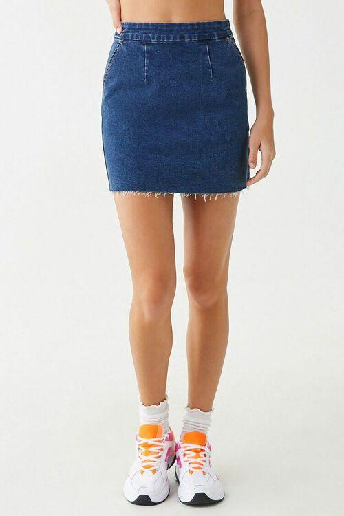 DARK DENIM Frayed Denim Mini Skirt, image 2