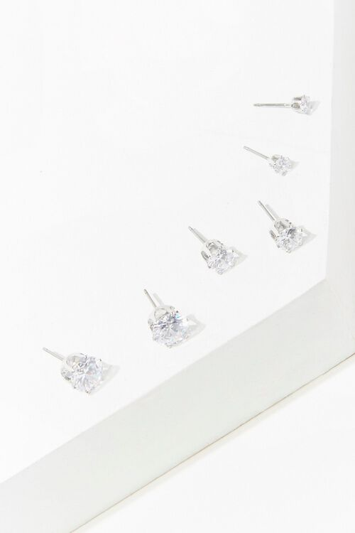SILVER/CLEAR CZ Stone Stud Earring Set, image 1