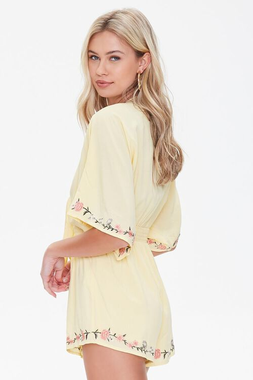 Floral Embroidered Tie-Front Romper, image 2