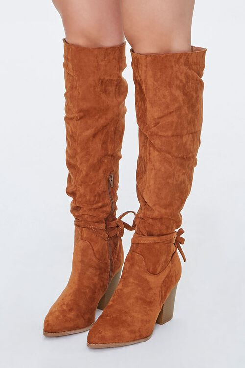 Slouchy Knee-High Bow Boots, image 1