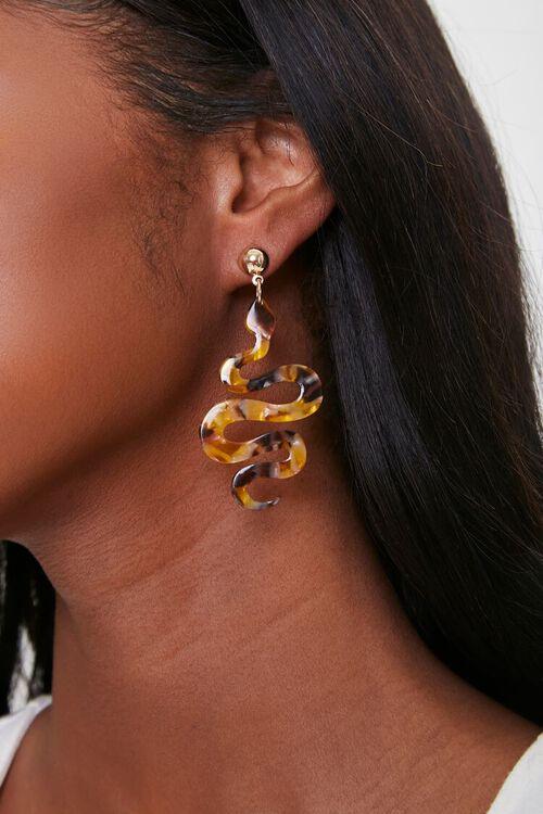GOLD/MULTI Snake Pendant Drop Earrings, image 1