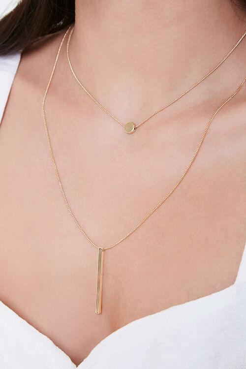 GOLD Bar Drop Layered Necklace, image 1