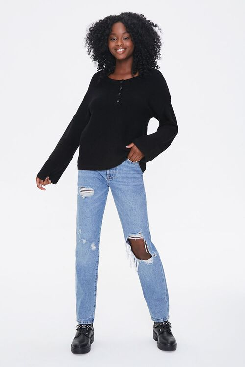 Sweater-Knit Henley Top, image 4