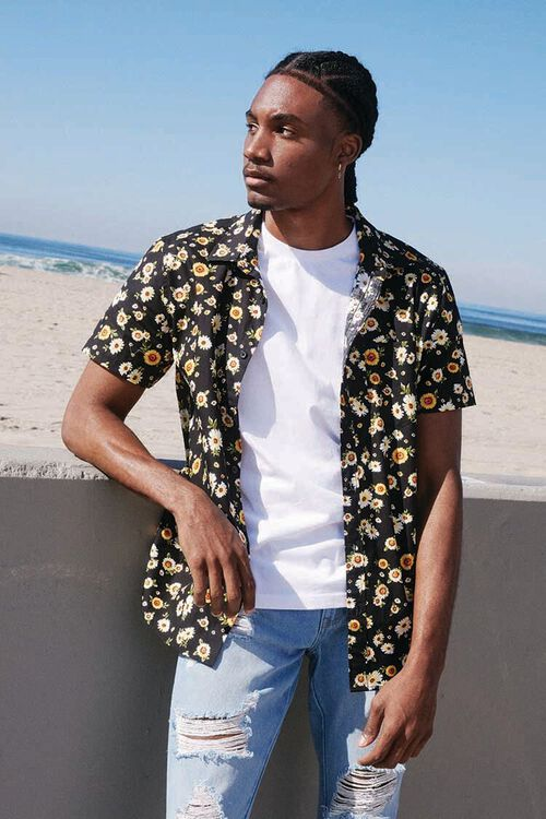 Fitted Daisy Print Shirt, image 1