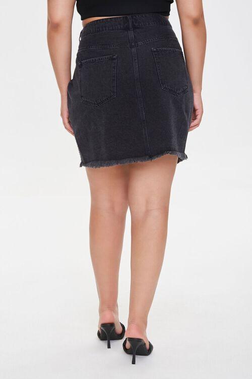 Plus Size Frayed Denim Mini Skirt, image 4