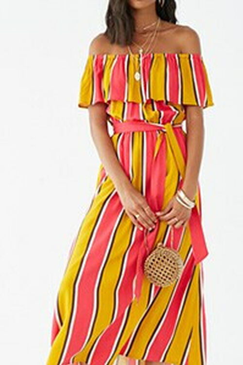 Striped Off-the-Shoulder Flounce Maxi Dress, image 1