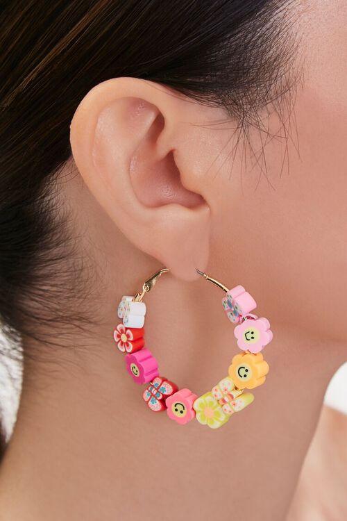 Daisy Charm Hoop Earrings, image 1