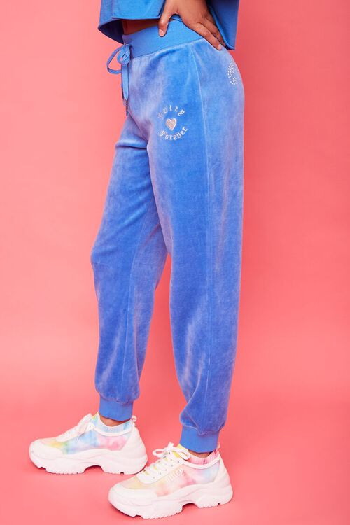 BLUE/SILVER Rhinestone Juicy Couture Velour Joggers, image 3