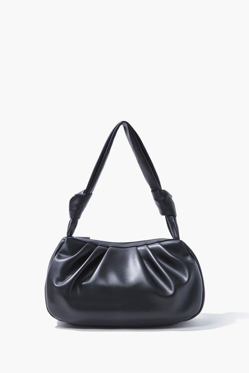 Faux Leather Ruched Shoulder Bag, image 1