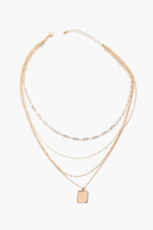 GOLD Square Pendant Layered Necklace, image 2