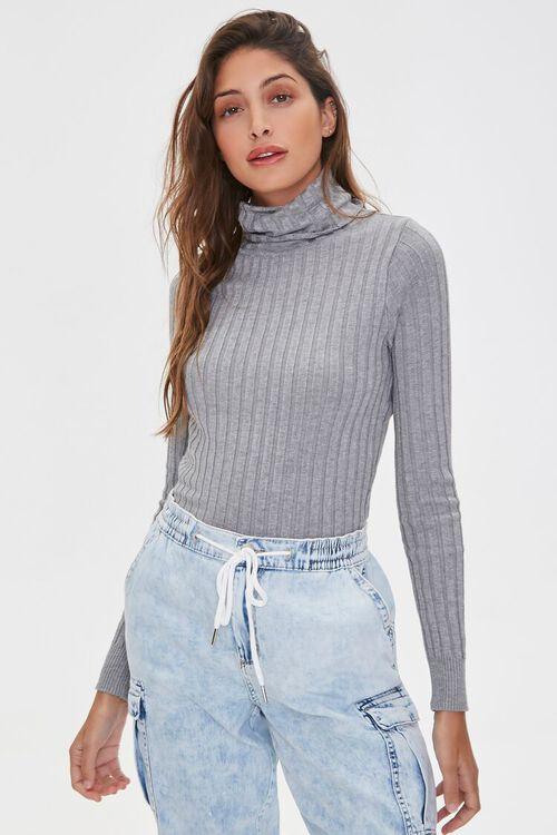 HEATHER GREY Ribbed Turtleneck Sweater, image 2
