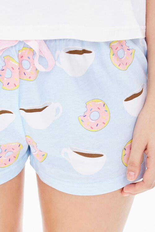 WHITE/BLUE Doughnut & Coffee Tee & Shorts Pajama Set, image 6