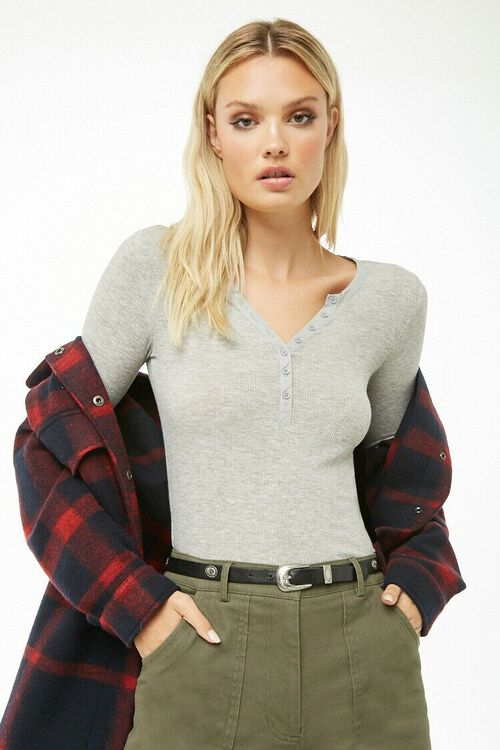 Ribbed Knit Henley Top, image 1