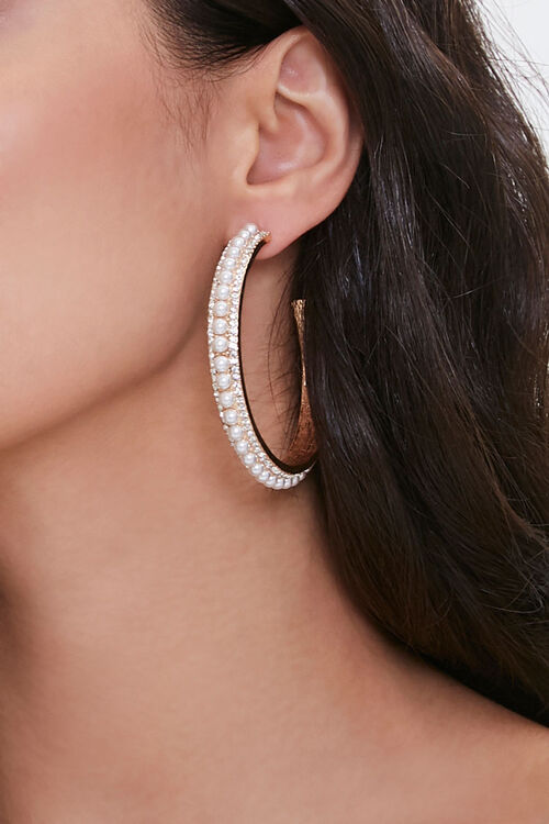 Rhinestone Faux Pearl Hoop Earrings, image 1