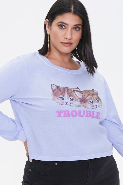Plus Size Trouble Long-Sleeve Tee, image 1