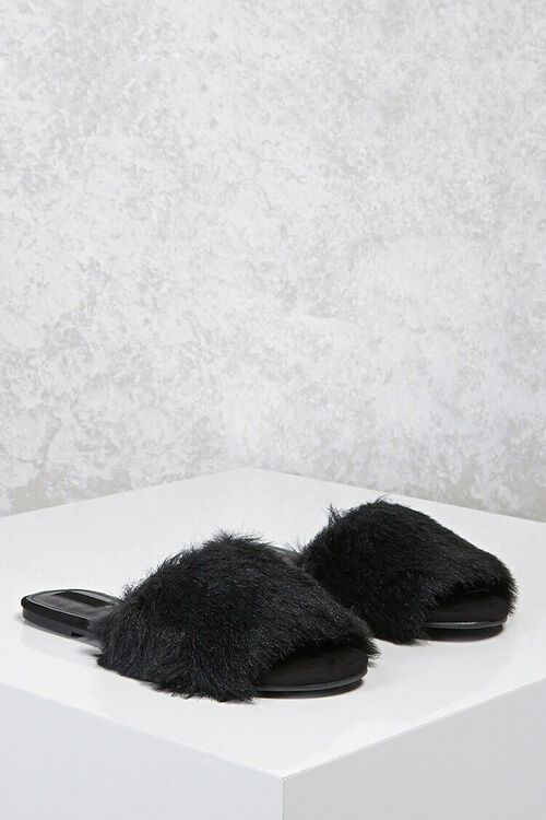 Faux Fur Slide Sandals, image 1