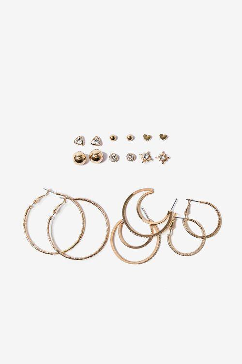 GOLD Moon & Star Hoop & Stud Earring Set, image 1