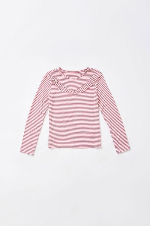 Girls Striped Ruffled-Trim Top (Kids), image 1