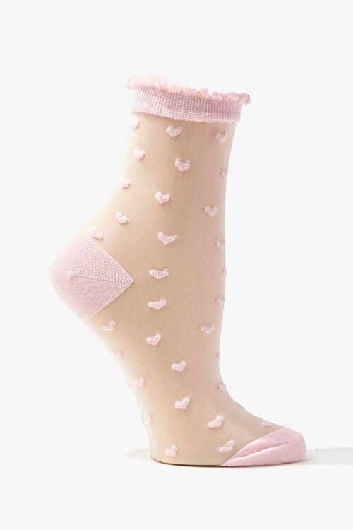 Clip Dot Heart Print Crew Socks, image 1