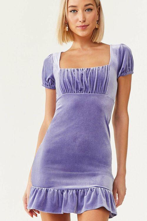 PERIWINKLE Velvet Short Sleeve Mini Dress, image 5