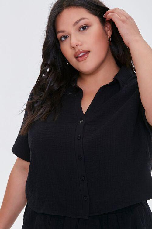 BLACK Plus Size Textured Shirt, image 1