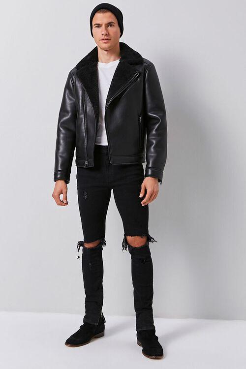 Faux Leather & Faux Shearling Moto Jacket, image 4